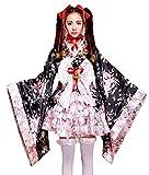VSVO Anime Cosplay Lolita Halloween Fancy Dress Japanese Kimono Costume (Large) Black/Pink