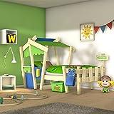 Lit d'aventure cabane en bois naturel à thème pour enfants