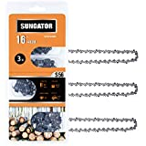 SUNGATOR 3-Pack 16 Inch Chainsaw Chain SG-S56, 3/8' LP Pitch - .050' Gauge - 56 Drive Links Fits Echo, Homelite, Poulan, Remington, Greenworks