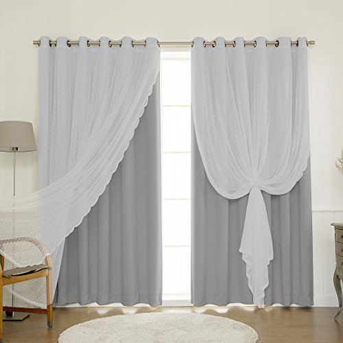Greatest House Style uMIXm Combine and Match Huge Width Dotted Tulle Lace and Blackout 2 Piece Curtain Set – Vintage Bronze Grommet High – Gray – 80″ W x 96″ L – (Set of two Panels)