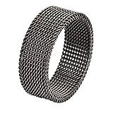 Geoffrey Beene Stainless Steel Men's Comfort Fit Mesh Ring, Gunmetal Grey