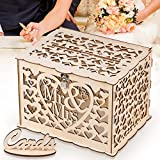 GLM Wedding Card Box with Lock, DIY Money Box Holder, Holds up to 300 Cards, Card Sign, Hollow Wooden Gift Card Box for Wedding Reception Anniversary Shower Rustic Wedding Decorations Birthday