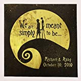 Nightmare Before Christmas Wedding Gift. Valentine's, Personalized, Jack and Sally, Wall Art. Capture Your Special Day in a Unique Way on Brass or Copper. Made for Love with Love