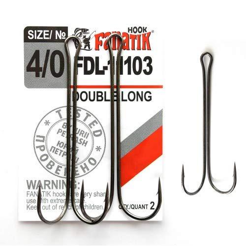 FANATIK Doppio Ami da Pesca Double Long FDL-11103 Misure 8, 6, 4, 2, 1, 1/0, 2/0, 3/0, 4/0 Ganci per Gomma Esche Offset Jig Hook for Soft Baits Lures Fanatic Amo Gancio (Nero, 70mm - #4/0-2pcs)