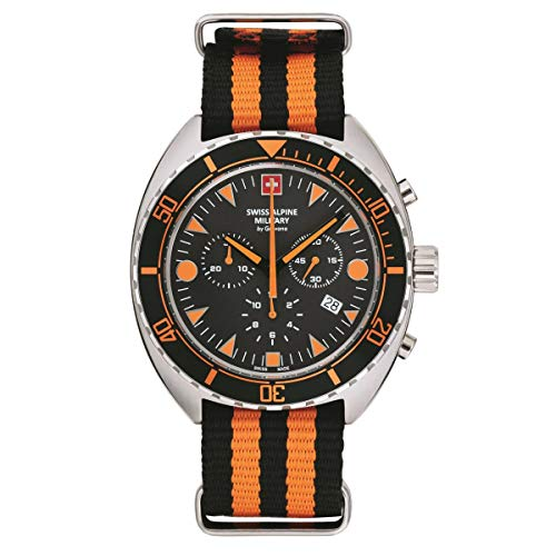 Swiss Alpine Military Herren Uhr Chronograph Analog Quarz 7066.9639SAM NATO-Armband