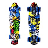 ENKEEO Skateboards 22 Inches Complete Skateboard Cruiser Plastic Banana Board with Bendable Deck and Smooth PU Casters for Kids Boys Youths Beginners, 220 Ibs, Joker Pattern