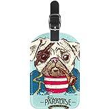 Etiquetas de Equipaje Etiquetas de Maleta de Viaje de Cuero de Perro Pug Pirata 1 Paquete