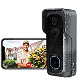 Doorbell Camera Wi-Fi with Motion Detector/Waterproof Video Doorbell/Free Chime/16GB Micro SD Card Included/Night Vision/166°Wide Angle/Two-Way Audio(AWOW J1)