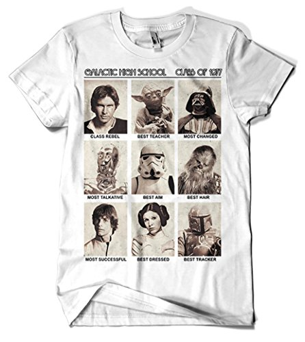 017-Camiseta Blanca Unisex Star Wars-Galactic High School - XL