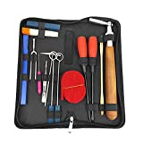 Professional Piano Tuning Kit, 16 Pcs Piano Tuner Tool Set Including Tuning Hammer Mute Lever Felt, Tuning Wrench, Tuning Fork, Temperament Strip, Piano Repairing Accessories
