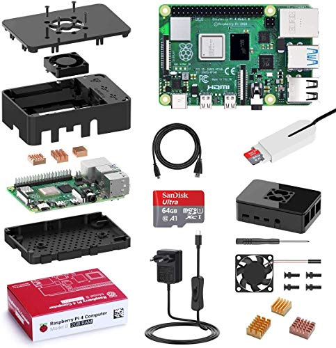 Bqeel Raspberry Pi 4 Modèle B(4 B), 2Go Starter Kit Upgraded for Raspberry Pi 3 64Go Micro SD Carte, 4K, BT 5.0, 1000Mbps, USB 3.0, Alimentation avec Interrupteur, Ventilateur,Dissipateur