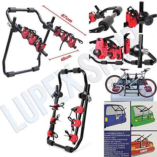 Portabici posteriore per auto PBLS01 fino a 3 bici universale bicicletta in vacanza parco mare -...