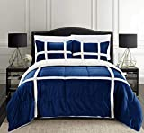 Elegant Comfort Micromink Stripe Lined Sherpa Comforter Set, Premium Down Alternative Micro-Suede 3-Piece Reversible Comforter Set, King/California King, Navy Blue