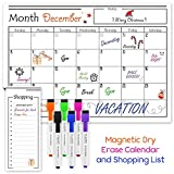 USA Made Magnetic Dry Erase Calendar for Refrigerator with 6 Markers & Magnetic Shopping List  Kitchen Fridge Calendar White Board, Schedule Planner Wall Set