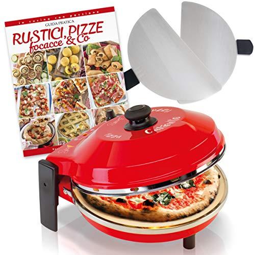 SPICE - Forno Pizza CALIENTE con pietra refrattaria 32 cm 400 gradi Resistenza circolare + 2 Palette Acciaio Inox + Ricettario Rustici Pizze Focacce