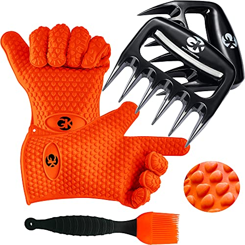 GK's Premium BBQ Dream Set: 100% Mess Proof Silicone BBQ Smoker Gloves for Food Prep and Serving Plus Super Sharp Solid Meat Claws for Shredding Plus Silicone Basting Brush   Smoker Accessories for Men and Women (Orange)