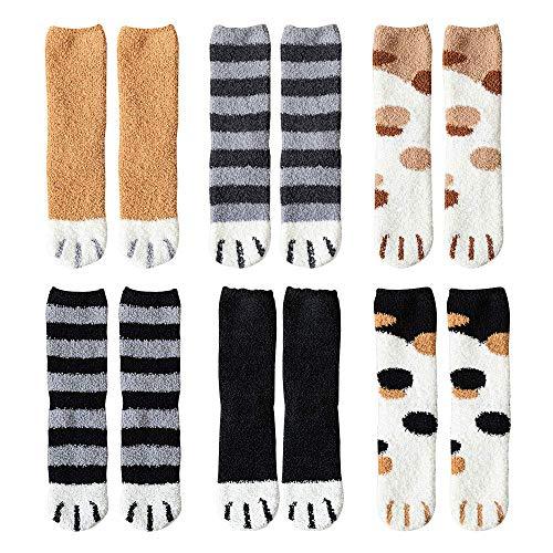 Hilareco Calze Gatto Collant Donna 6 paia di artigli da gatto invernali Calzini da pavimento per dormire cald