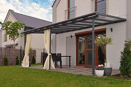 Hochwertige graue ALU Terrassenüberdachung/Veranda - 550 x 300 (BxT) / Überdachung Palram Sierra Grau