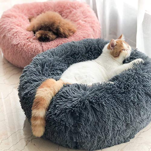 Neekor Cat Dog Beds, Soft Plush Donut Pet Bedding Winter Warm Sleeping Round Fluffy Pet Calming Bed Cuddler for Puppy Dogs/Cats, Size: Small/Medium/Large (Dark Grey/Medium)