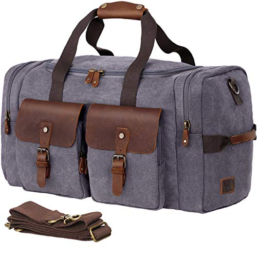 WOWBOX Duffle Bag Weekender Duffel Bag for Men and Women Genuine Leather Canvas Travel Overnight Carry on Bag with Shoes Compartment Grey
