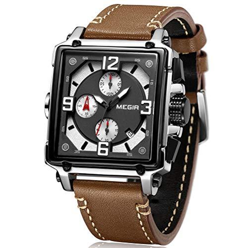 MEGIR Herren Uhren Rechteckig Braun Leder Armband Wasserdicht - Analog Chronograph Männer Uhren - Sport Silber Edelstahl Gehäuse mit Datum