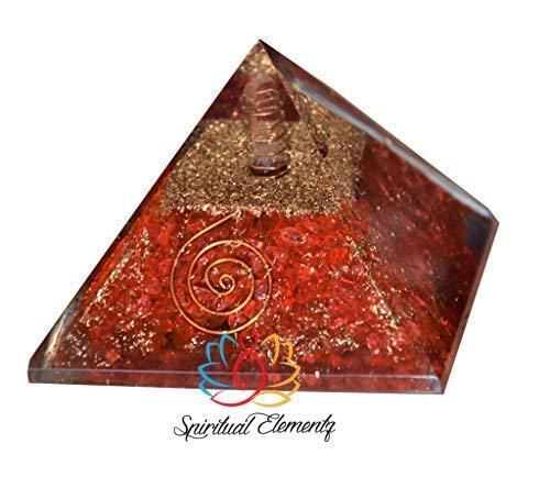 Spiritual Elementz Reiki Cargado Chakra Curación Pirámide Orgone Rojo (3') con piedra de cristal transparente (piedra utilizada para eliminar la negatividad)