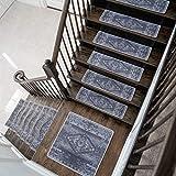 Benissimo Stair Treads Carpet, Landing Latex Non Slip Stair Rugs, Modern Printed Design, Vibrant and Soft Non-Skid Stair Runner for Indoor Wooden Step, Set of 13 (9'x32') + 1(31'x31'), Ashen
