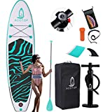 ACOTOP Inflatable Stand Up Paddle Board, 10'6' ×33' × 6' Sup for All Skill Levels Inflatable Paddle Boards, Non-Slip Deck, Double Action Pump, Waterproof Bag for Youth & Adult & Kids, Green