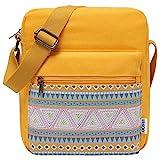 Messenger Bag for Girls,VASCHY Lightweight Canvas Crossbody Bag Purse for Teen Girls Women Fits Water Bottle Yellow