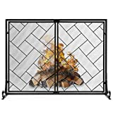 Best Choice Products 44x33in 2-Panel Handcrafted Wrought Iron Decorative Geometric Fireplace Screen w/Magnetic Doors