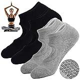 None Branded Calcetines de Yoga, con Bolas de Silicona Antideslizantes, ya no tendrás Que preocuparte por caerte al Caminar sobre una Tabla (Negro + Gris)