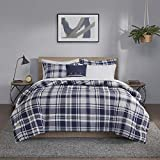 Madison Park Essentials Cozy Bed in A Bag Reversible Comforter with Complete Sheet Set, Casual Plaid Cabin Design, All Season Cover, Decorative Pillow, Queen(90'x90'), Patrick, Navy 8 Piece