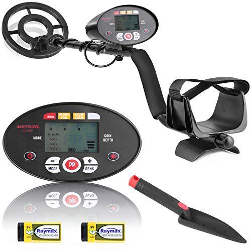Meterk Metal Detector, sensibilit Regolabile, Pinpoint e Disc con Bobina Impermeabile, Lunghezza Regolabili(105-121CM), Pala Pieghevole per Il rilevamento di Metalli