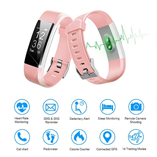 LETSCOM Fitness Tracker HR, Activity Tracker Watch with Heart Rate Monitor, Waterproof Smart Fitness Band with Step Counter, Calorie Counter, Pedometer Watch for Women and Men 4