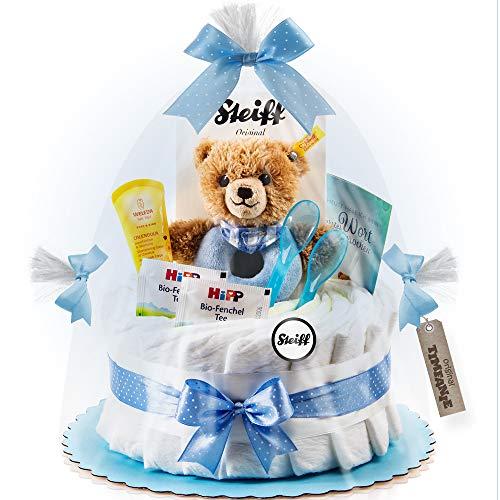 Timfanie® Windeltorte | Steiff Bärchen Rassel 1-stöckig | blau-punkt | Windeln Gr. 2 (Baby 4-8 Kg)