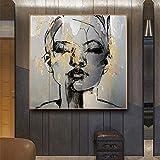 KWzEQ Pintura de la Lona de la Cara de la Muchacha Dorada Abstracta Personaje Moda Mujer Arte de la Pared Carteles e Impresiones,40X40cm,Pintura sin Marco