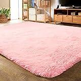LOCHAS Ultra Soft Indoor Modern Area Rugs Fluffy Living Room Carpets for Children Bedroom Home Decor Nursery Rug 4x5.3 Feet, Pink