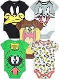 Warner Bros. Looney Tunes Newborn Baby Boy Girl 5 Pack Bodysuit (6-9 Months)