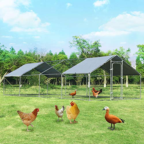 Giantex Large Metal Chicken Coop, Walk-in Chicken Coops Run House Shade Cage with Waterproof and Anti-Ultraviolet Cover for Outdoor Backyard Farm Use, Hen Run House Poultry Habitat (10 x 26 x 6.4ft)