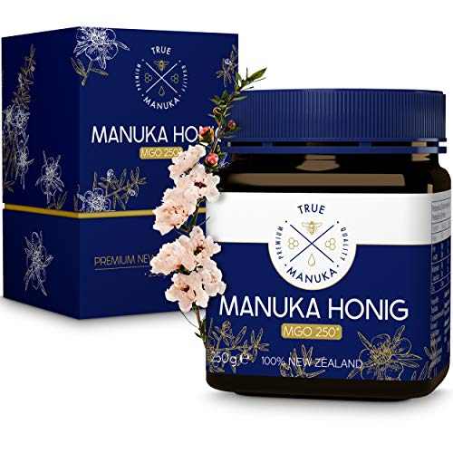 EINFÜHRUNGSANGEBOT - TRUE MANUKA® Premium Manuka Honig - Zertifizierter MGO Gehalt 250+ [250g] - 100% Pur aus Neuseeland - Mehrfach geprüfter Honig mit herausragender Reinheitsstufe