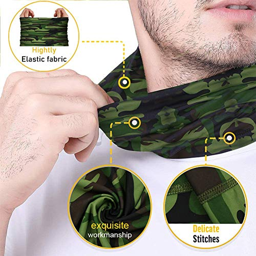 [9 Pack] Summer UV Protection Face Mask Neck Gaiter Bandana Breathable Headwrap Cooling Face Cover for Outdoor use Camping Running Cycling Fishing Sport Hunting