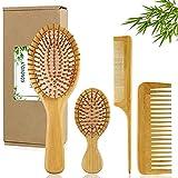 4PCS Brosses à Cheveux en Bambou Peigne à Queue à Dents Larges Brosse à Cheveux De Massage En Bois Écologique,Convient aux Femmes Hommes Enfants,Kit Cadeau pour Cheveux Secs et Bouclés par KONOVOLY