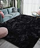 Homore Luxury Fluffy Area Rug Modern Shag Rugs for Bedroom Living Room, Super Soft and Comfy Carpet, Cute Carpets for Kids Nursery Girls Home, 4x5.9 Feet Black