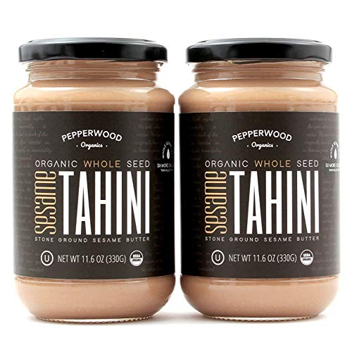 Organic Stone-Ground Whole Sesame Tahini Paste, Unhulled, Unsalted, Non-GMO, Gluten-Free, Kosher, Vegan, Organic, Peanut-Free, 11.6 Ounce Glass Jars (2-Pack)