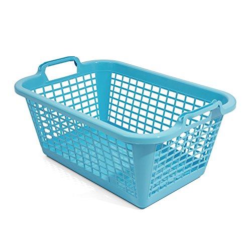 35L Wäschekorb Wäschebox von OKT blau Kunststoff Tragegriffe Sammelkorb Wäschesammler