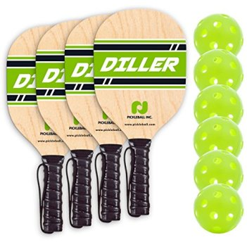 Diller Pickleball Paddle 4 Player Bundle (Set Includes 4 Paddles & 6 Balls)