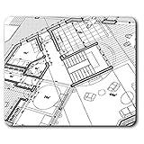 Destination Vinyl Ltd Souris Confortable Mat - Maison d'architecte Plans Imprimer 23,5 x 19,6 cm (9,3 x 7,7 Pouces) pour Ordinateur et Portable, Bureau, Cadeaux, Base antidérapante - RM2382