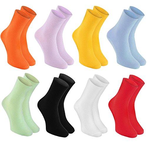 Rainbow Socks - Donna Uomo Calzini Diabetici Senza Elastico di Cotone - 8 Paia - Arancione Giallo Porpora Blu Verde Nero Bianco Rosso - Taglia 44-46