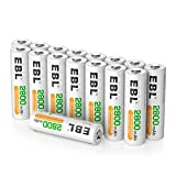 EBL 16PCS Piles AA Rechargeables 2800mAh 1,2V Ni-MH, Longue Durée avec Boîte...