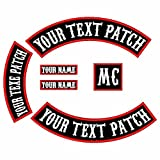 6 Pack Custom Embroidered MC Biker Patches, Personalized Embroidery Rocker Patch Rider Motorcycle Patches Back Name Patch Appliqued/Iron-on/Sew-on Veterans Jacket (Black Fabric+White Text+Red Border)